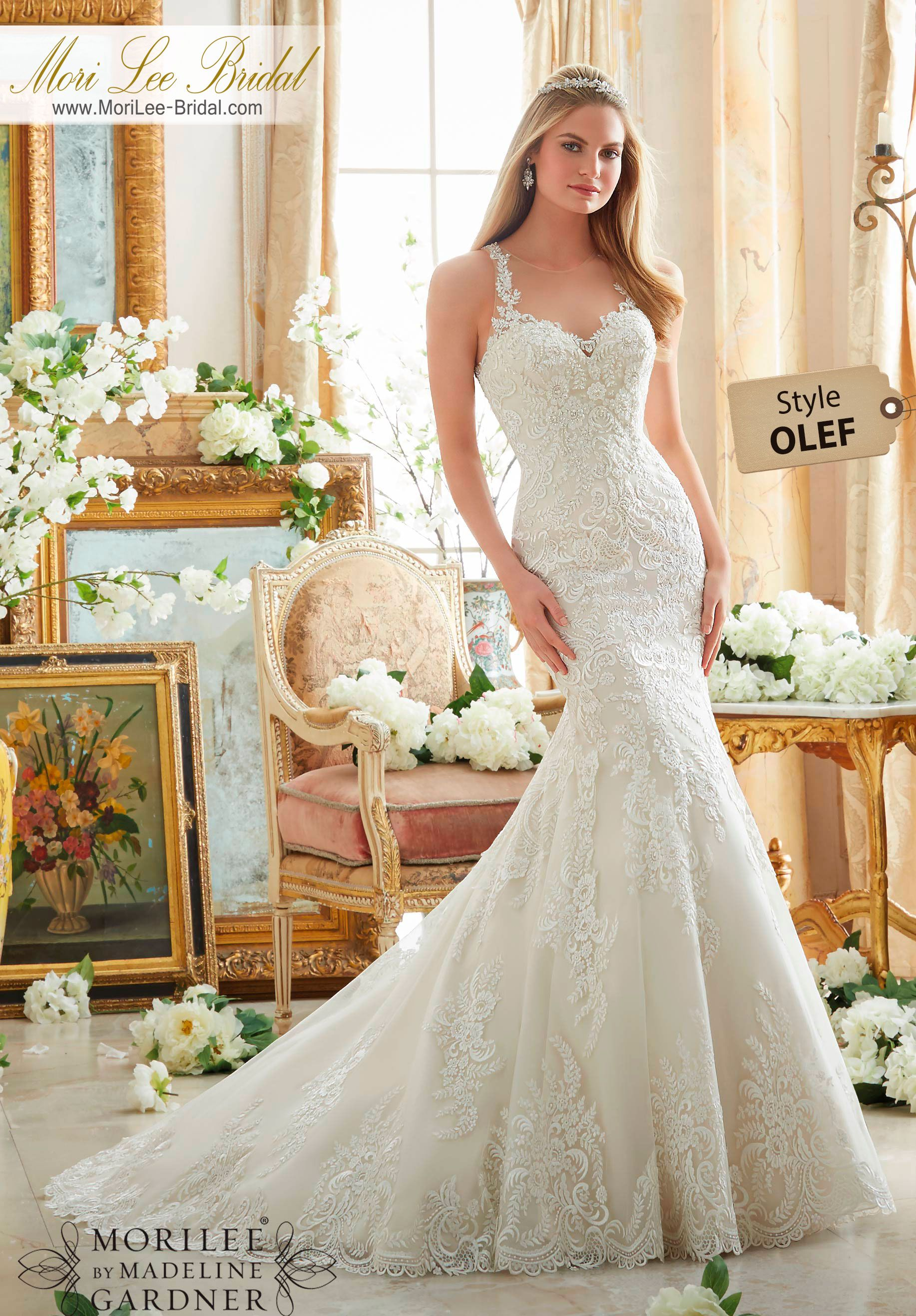Wedding dresses for broad shoulders  Dress Style OLEF EMBROIDERED LACE ON SOFT NET WITH WIDE HEMLINE