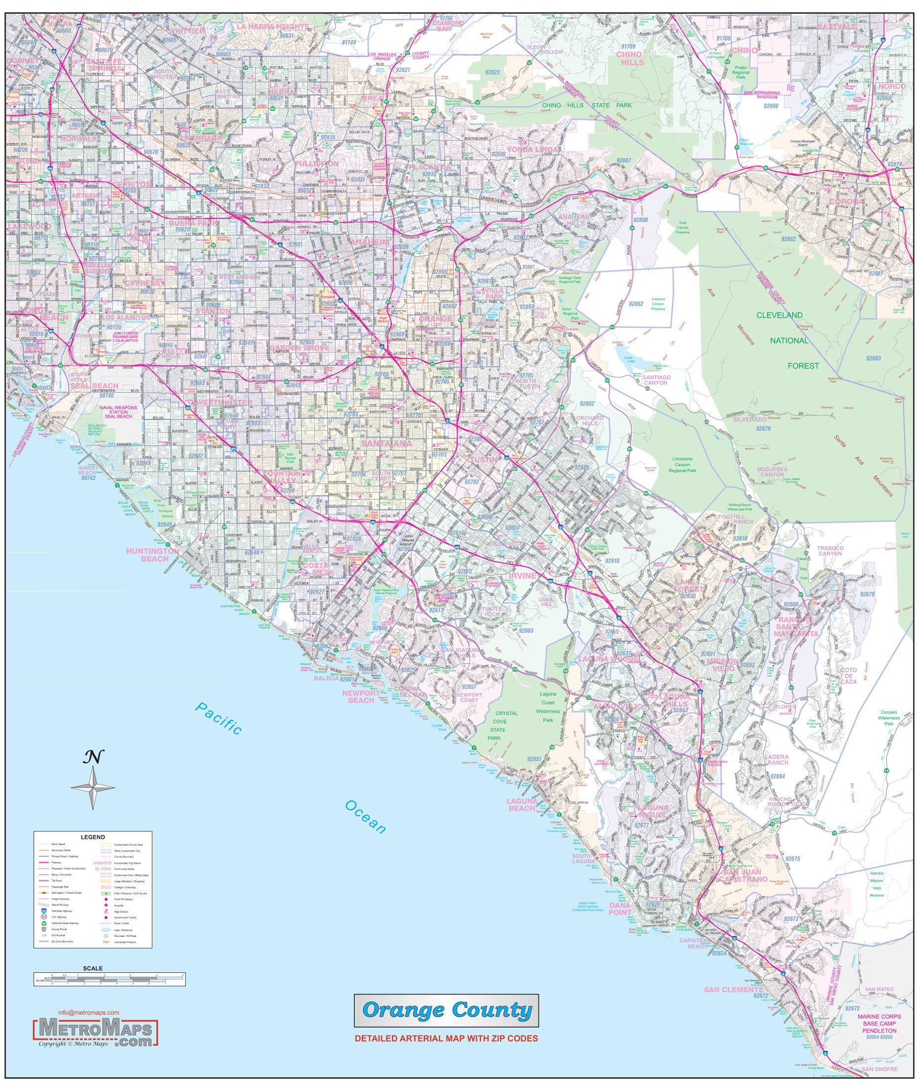 Orange County Ca Detailed Vicinty Wall Map W Zip Codes 2 Etsy