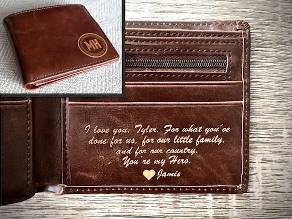 mens leather wallet circle