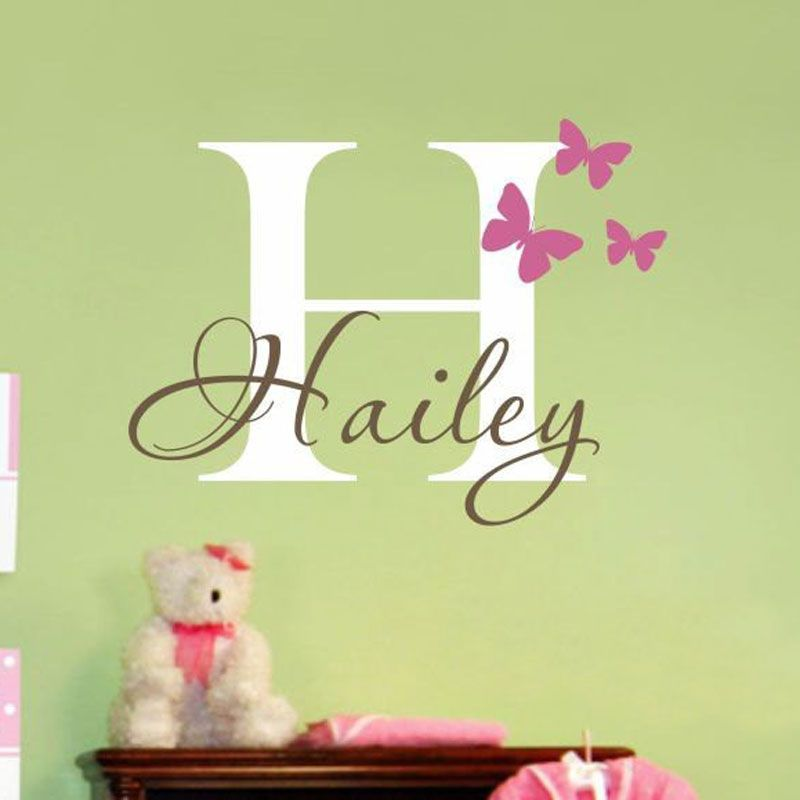 Girls Name Wall Decal Sticker Butterfly Decoration Wall Decal Decor ...