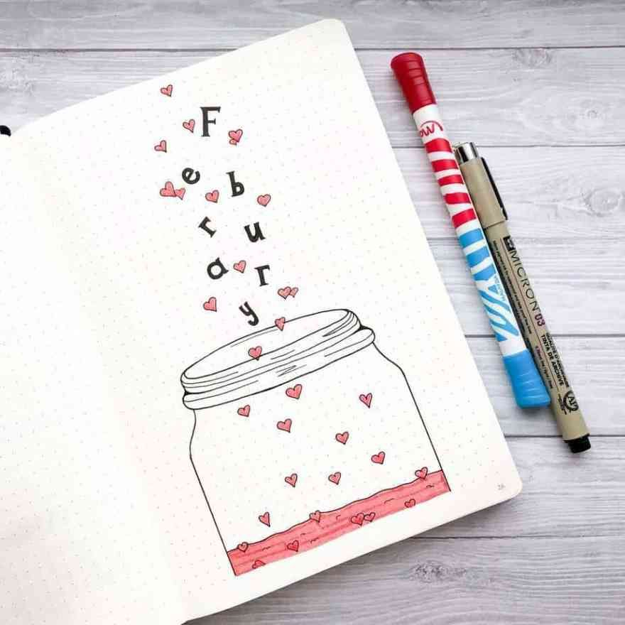 Bullet Journal Heart Theme Inspiration - Planning Mindfully