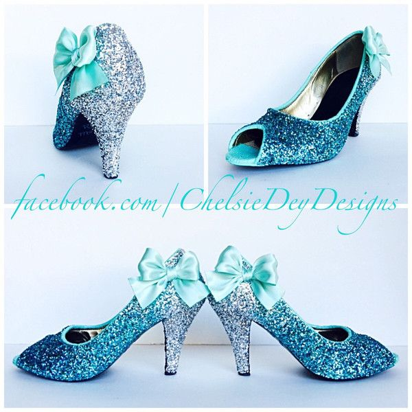5388801059 Glitter High Heels Royal Blue Robins Egg White Ombre Peep Toe Pumps...  ($105) ❤ liked on Polyvore featuring shoes, pumps, light blue, women's shoes,  ...