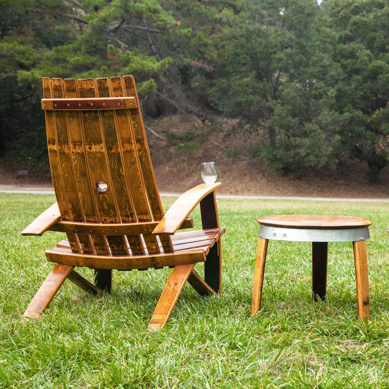 Adirondack Wine Barrel Chairs White Yard Chair Hand Made Pinterest Furniture Barrels Guitar