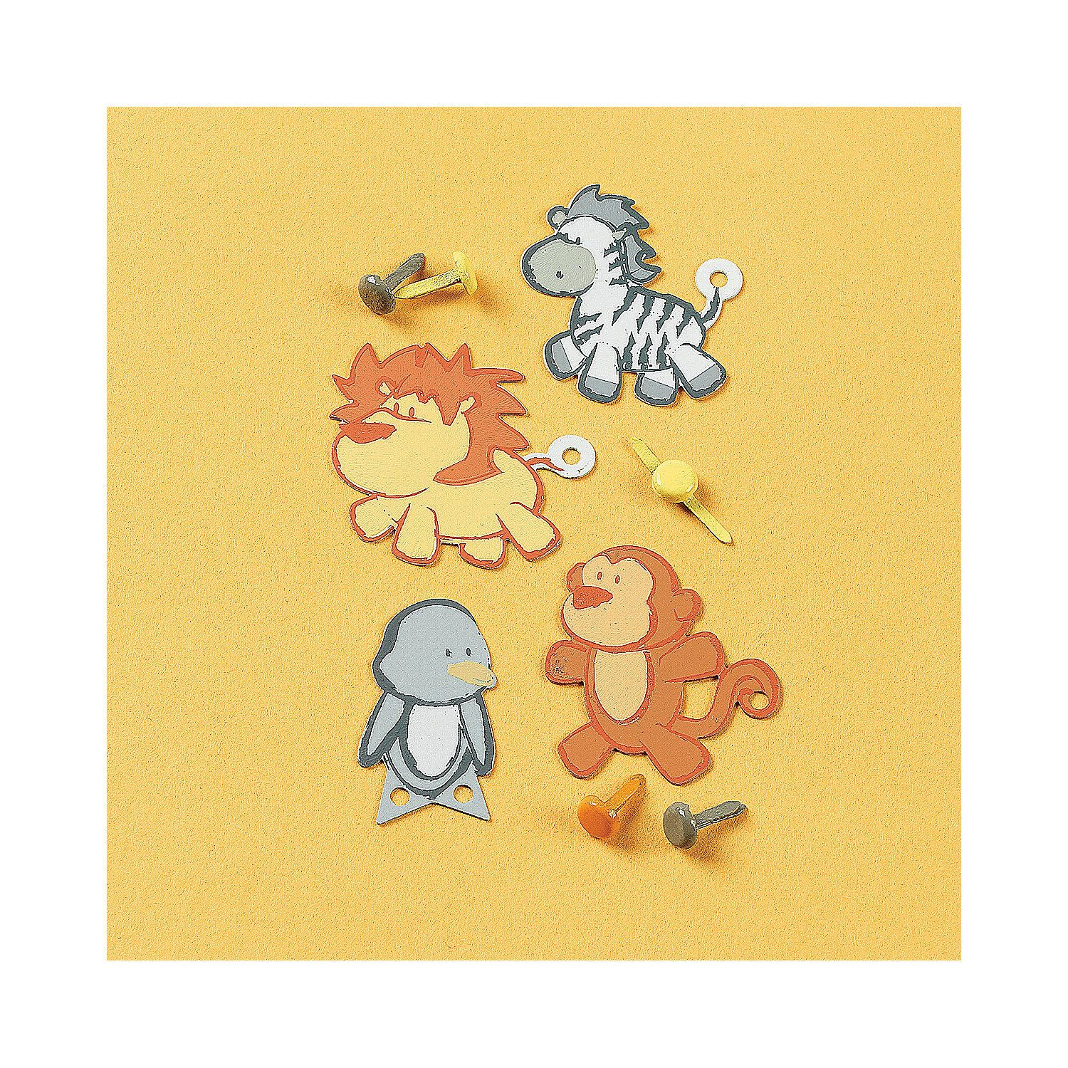 Zoo animal scrapbook ideas - Embellish Scrapbook Pages Of Memories Of Your Trip To The Zoo With These Adorable Metal Zoo Animal Flat Brads Includes 4 Each Of Zebra