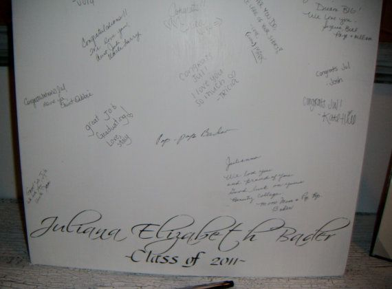 Graduation Party - guest book sign to write words of congratulations and advice for the graduate! Will definitely do this...