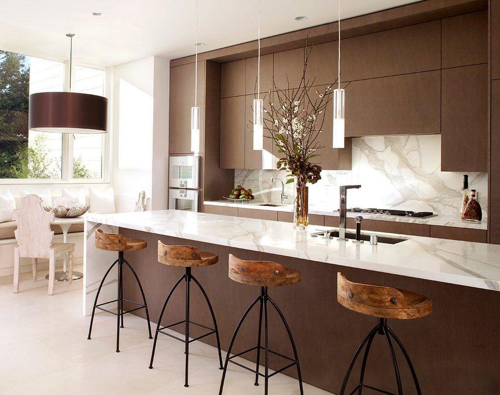 Cozinha Moderna Com Um Toque R Stico Trazido Pelas Banquetas