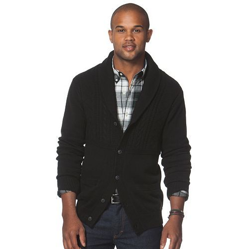 64021d6664 Big   Tall Chaps Classic-Fit Textured Cardigan Sweater