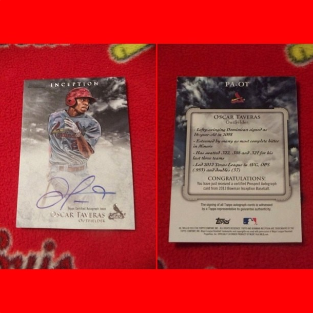 My son's Oscar Taveras signed #BaseballCard. #OT18