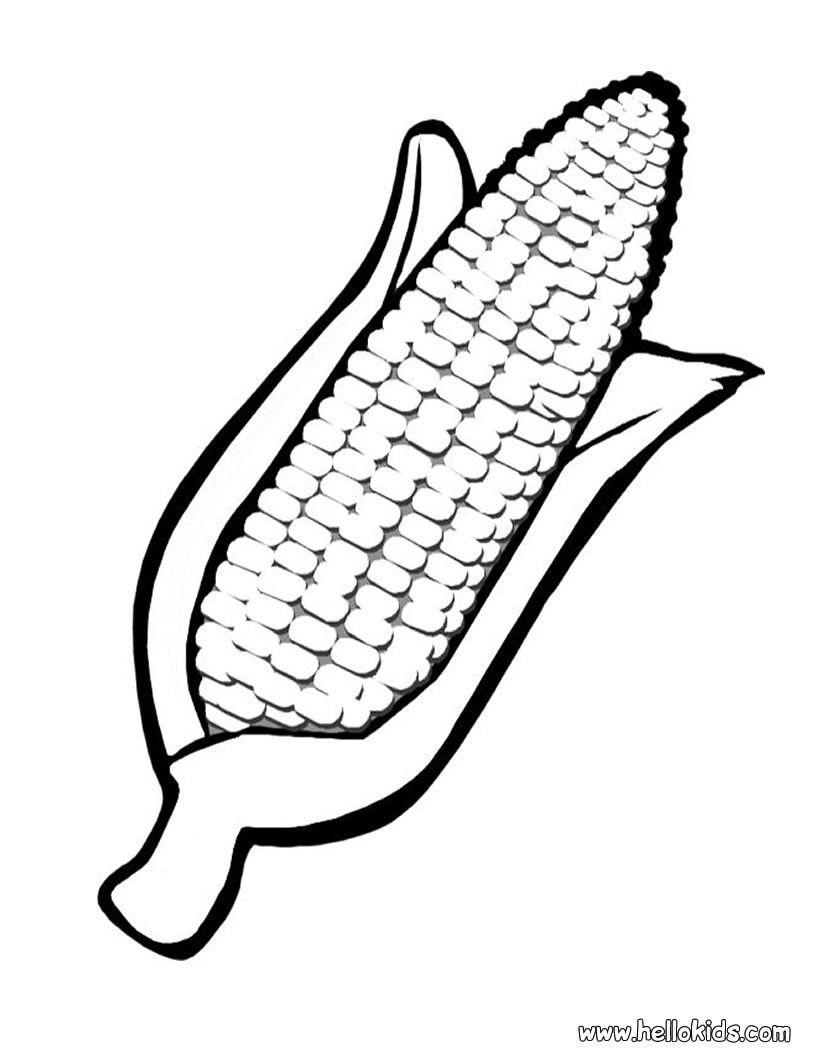 Corn coloring page Preschool Pinterest