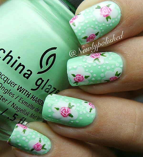 50 Lovely Spring Nail Art Ideas | Rosas rosadas, Lunares en diseño y ...