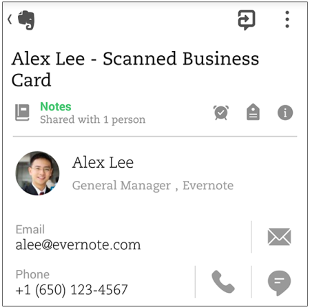 Business Card Scanning Heads To The Evernote For Android S
