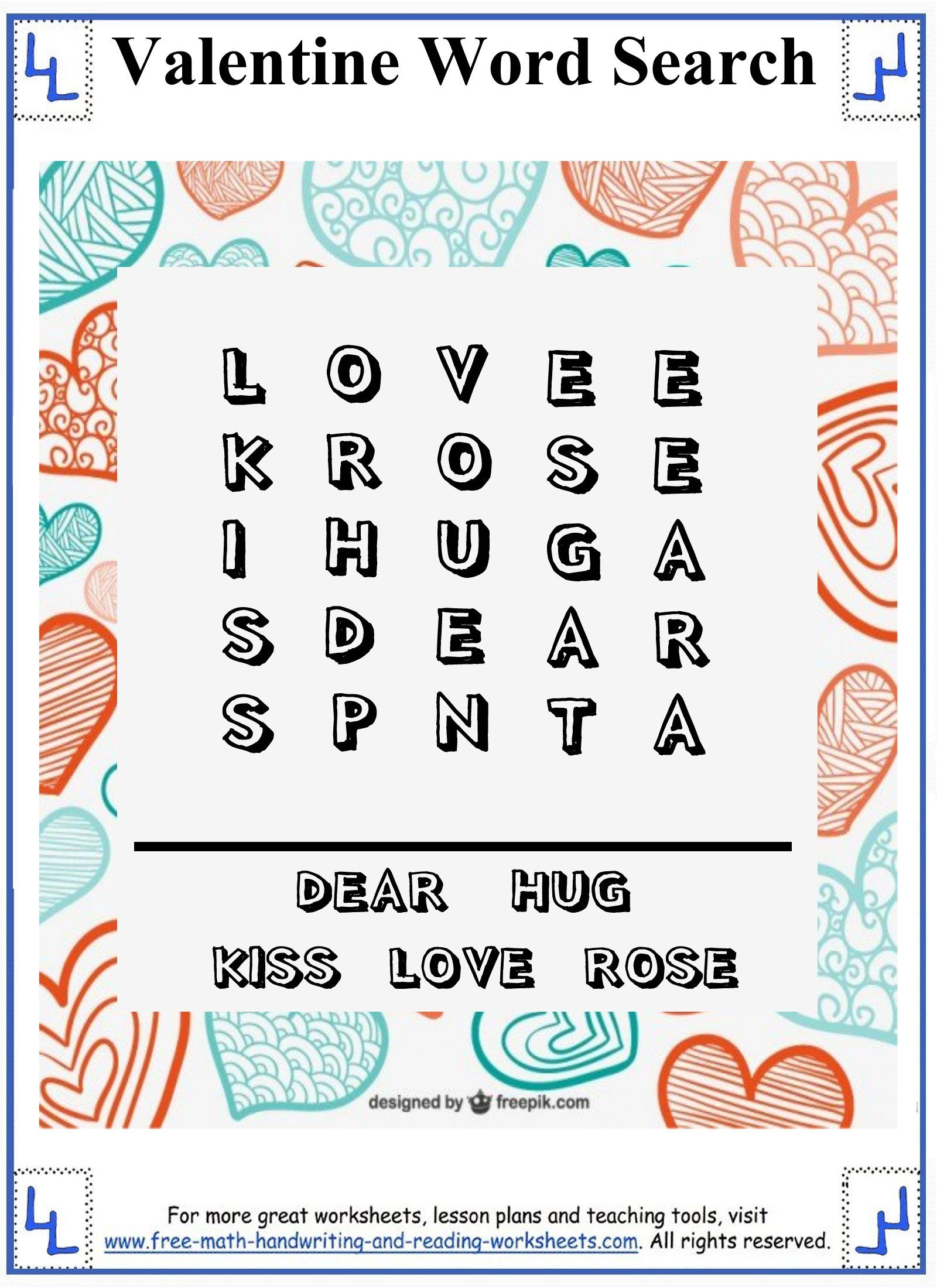 Valentine Word Search - Printable Puzzles - Easy 5x5 grid for ...