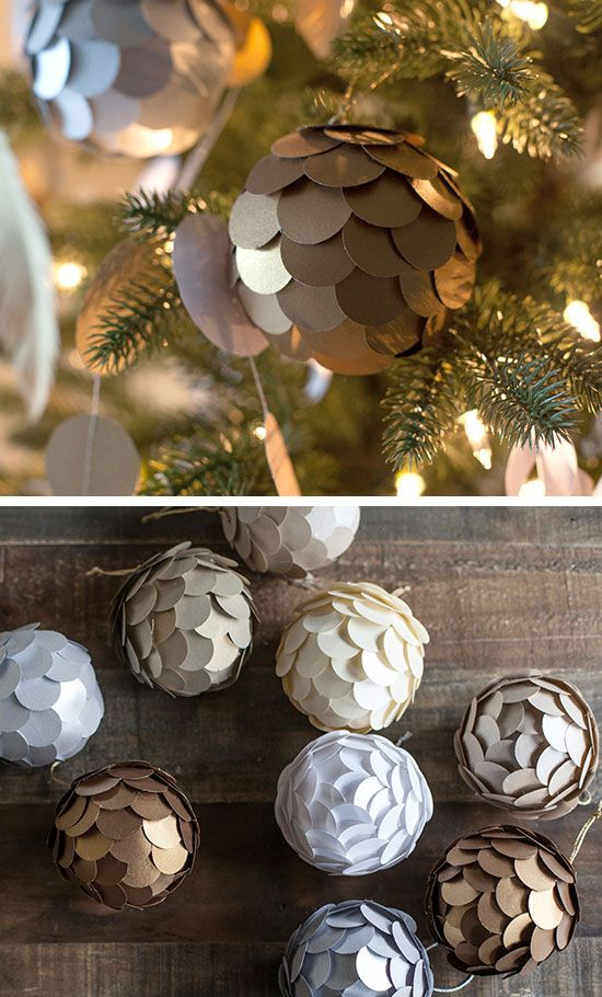 Metallic Paper Ball Ornaments Click For Easy Diy Christmas Decorations Home Homemade Also Decor Ideas The