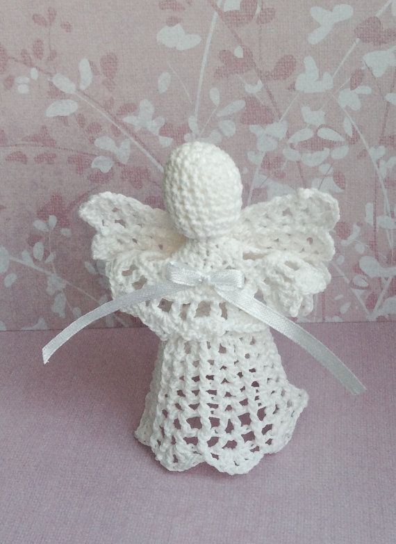 Set of 5 beaded Lace Angel Christmas Angel chrochet ornament ...