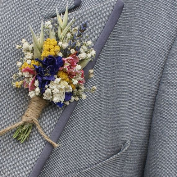 Festival Meadow Dried Flower Buttonhole Our April Wedding 2017