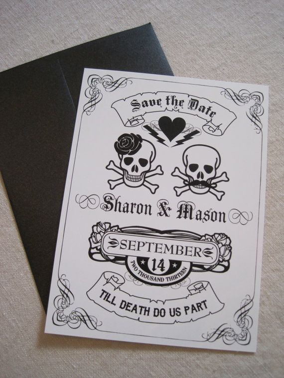 Till Death Do Us Part Save The Date by theoriginalpear on Etsy – Halloween Wedding Save the Dates