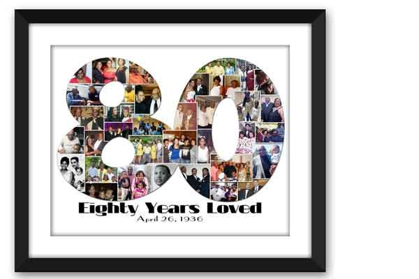 80th Birthday Photo Collage Gifts For Grandma Father 90th