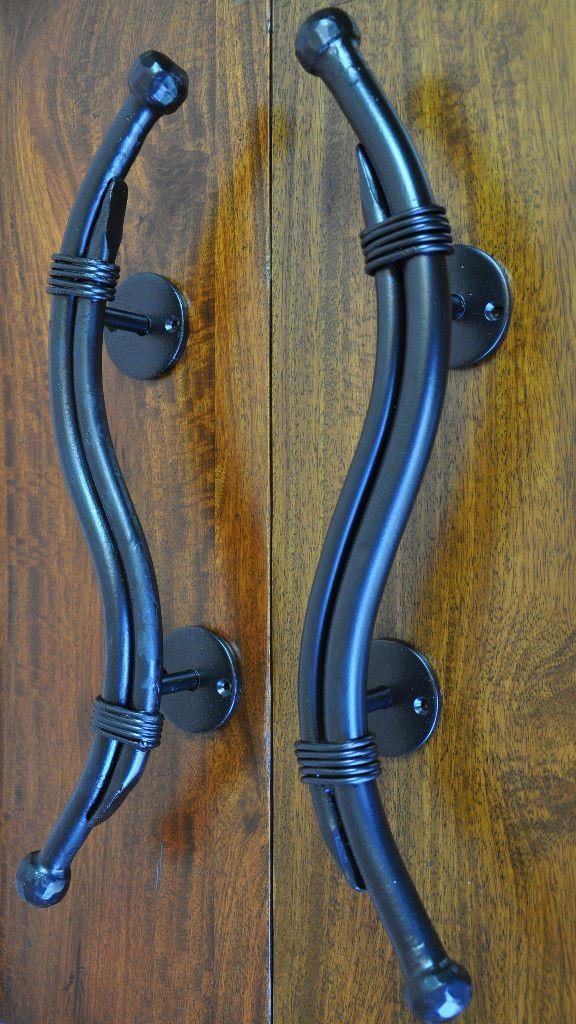 HANDLES-PAIR OF SOLID WROUGHT IRON PULLS-BLACK-DOUBLE FRONT DOOR ...