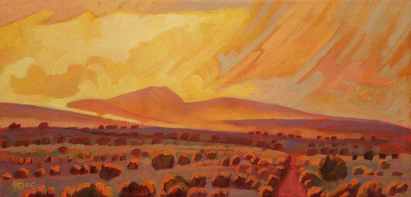 Taos Orange Glow by Art James West (Alan Heuer) - contemporary representional expressionism