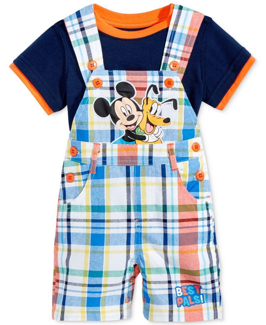 Nannette 2-Pc. T-Shirt & Mickey Mouse Plaid Shortall Set, Baby Boys (0-24 months)