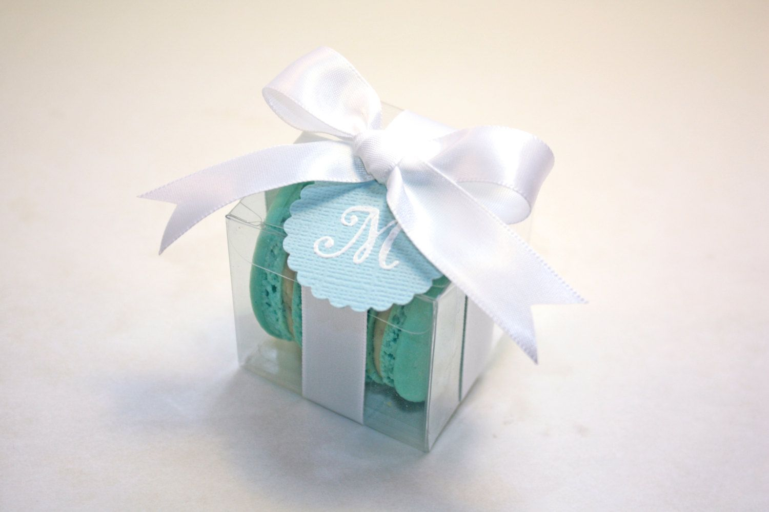 Blue and White Macaron Boxes, Blue Wedding Favor - Set of 24 Favor ...