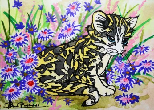 ACEO-Original-painting-cat-kitty-baby-panther-collectible-art-ACEO