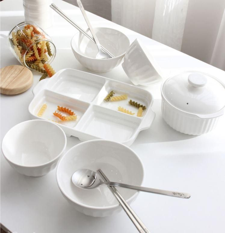 Mild White 13pc Ceramic Korean Tableware Plate Pot Bowl Cutlery Set For 2 This Is A Stylish And Sturdy Ce Tableware Set Tableware Cookware Design