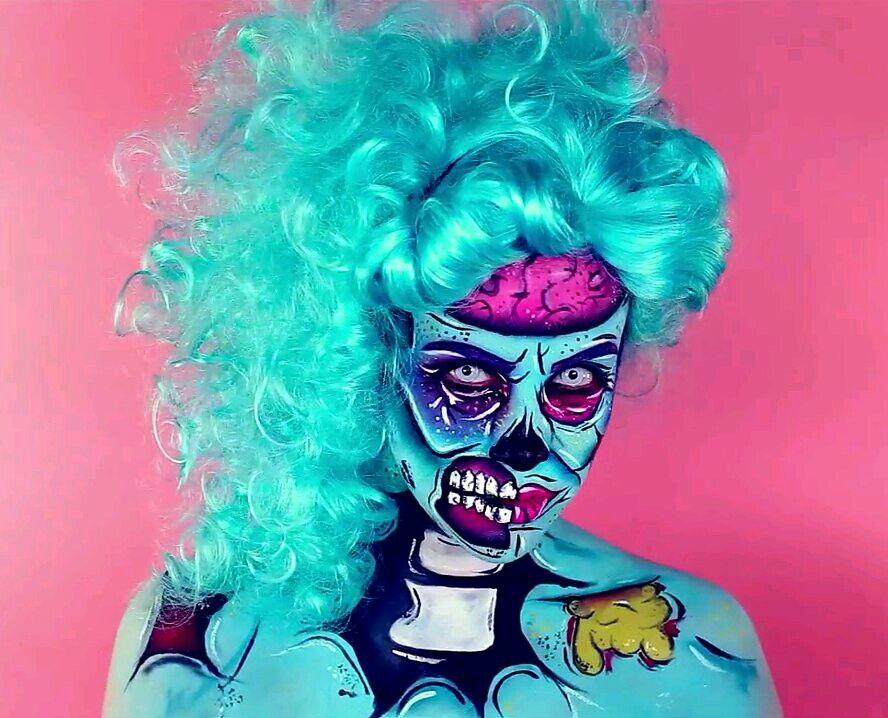 pop art zombie halloween makeup pinterest maquillage. Black Bedroom Furniture Sets. Home Design Ideas