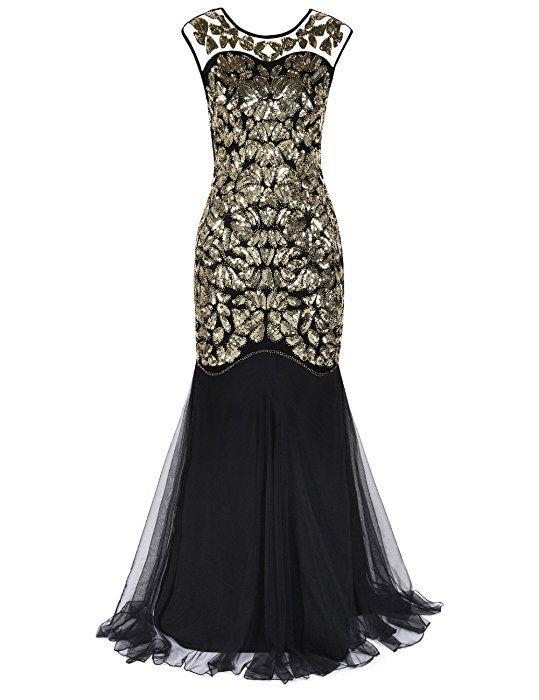 77dedd9db87 Amazon.com  Kayamiya Women s 20s Beaded Floral Maxi Long Gatsby Flapper  Prom Dress 2XL Champagne  Clothing
