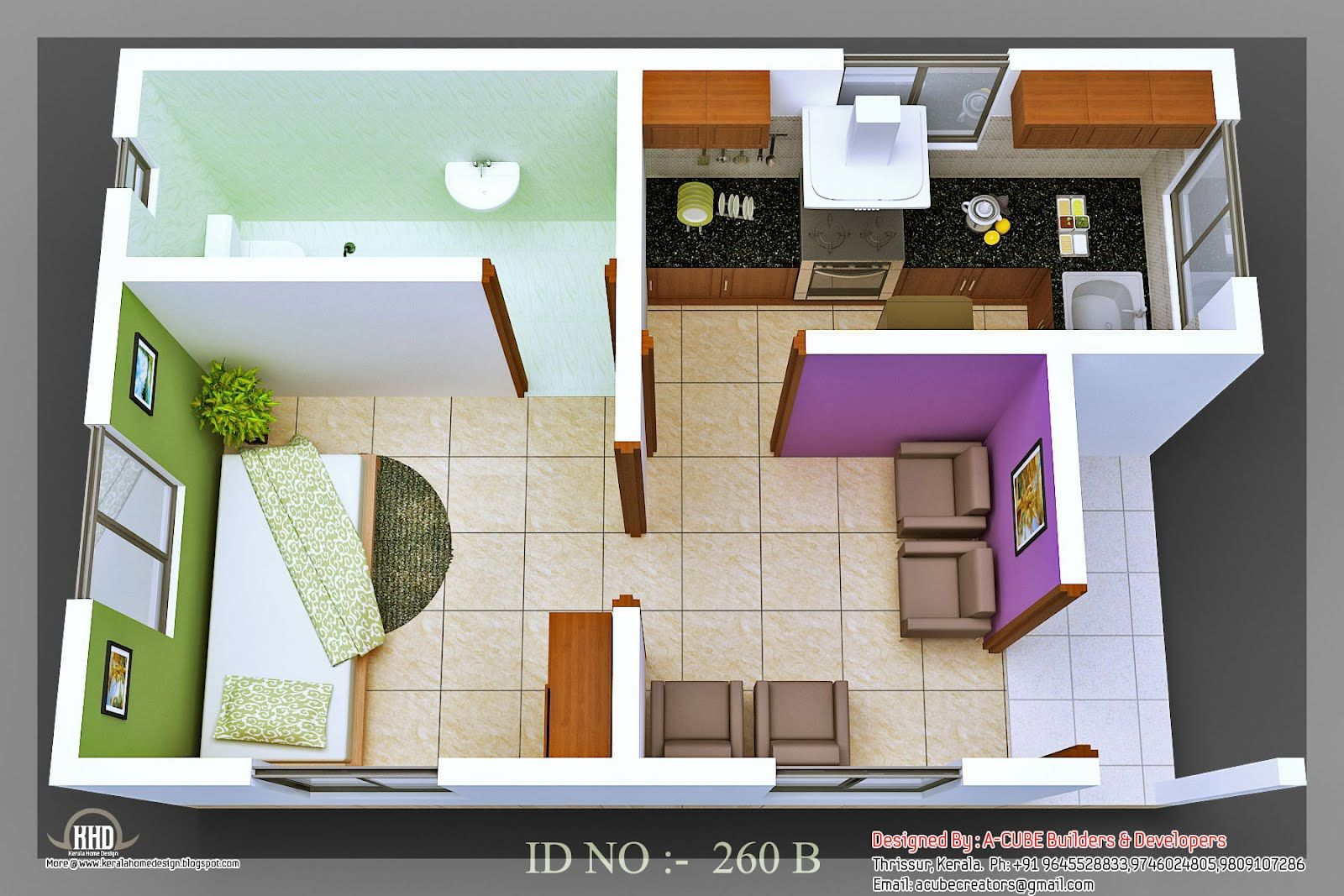 3d isometric views of small house plans kerala home design and - Small Homes Plans