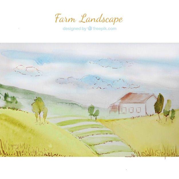Watercolor farm landscape Free Vector