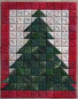 scotch stitch needlepoint christmas tree ornament designed by needlepoint expert janet m. perry