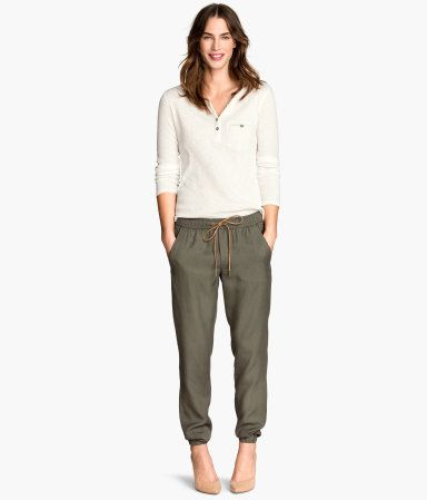 Womens Embroidered Lyocell Trousers Regular