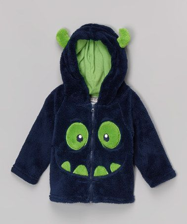 Another great find on #zulily! Navy & Green Monster Face Hoodie - Infant & Toddler #zulilyfinds