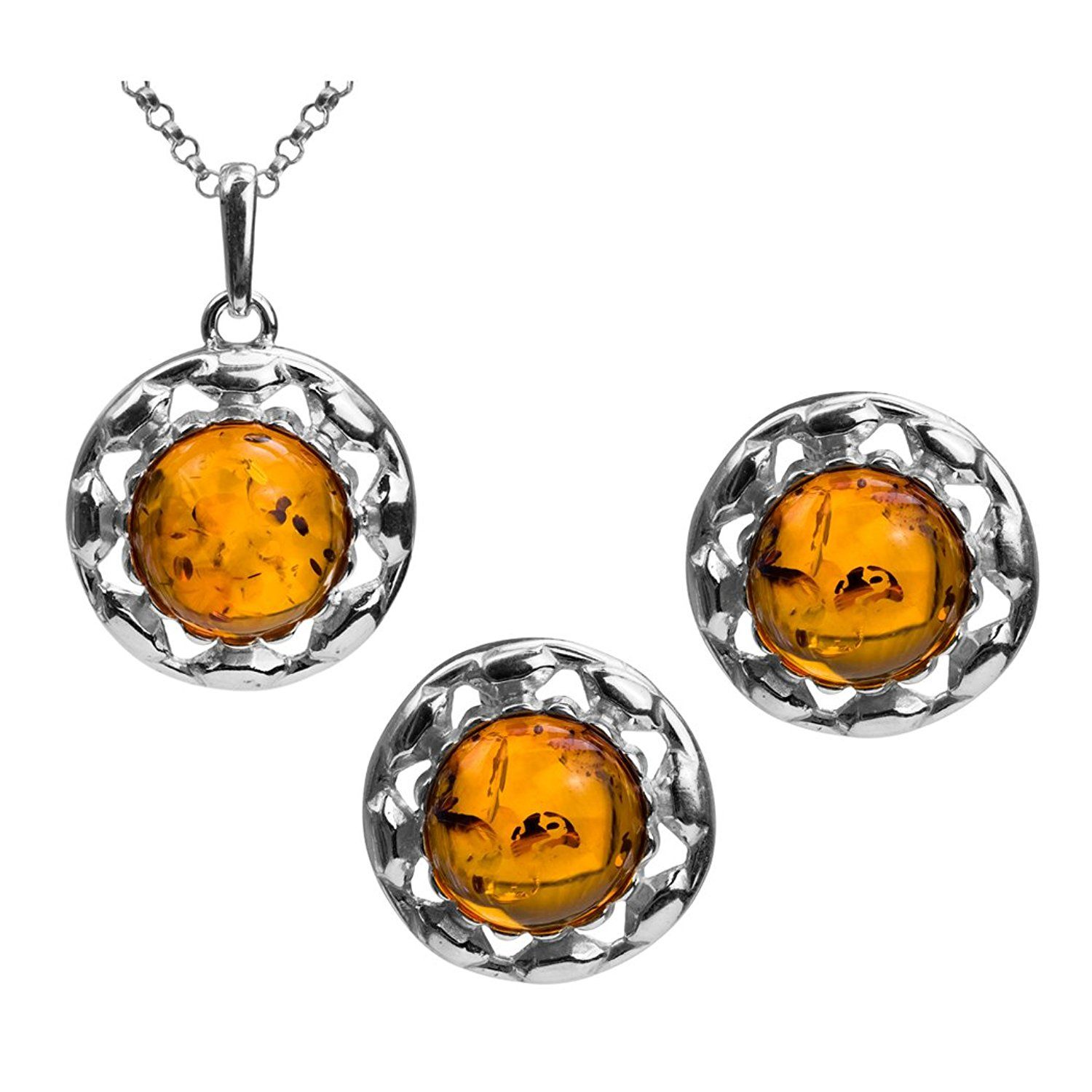 Amber Sterling Silver Oval Earrings Pendant Necklace Set Chain 46 cm Rr3MuglcNQ