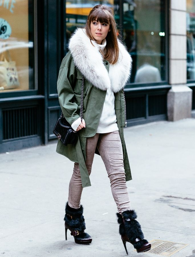 olive green winter coat with casual 2017 outfit and fur boots