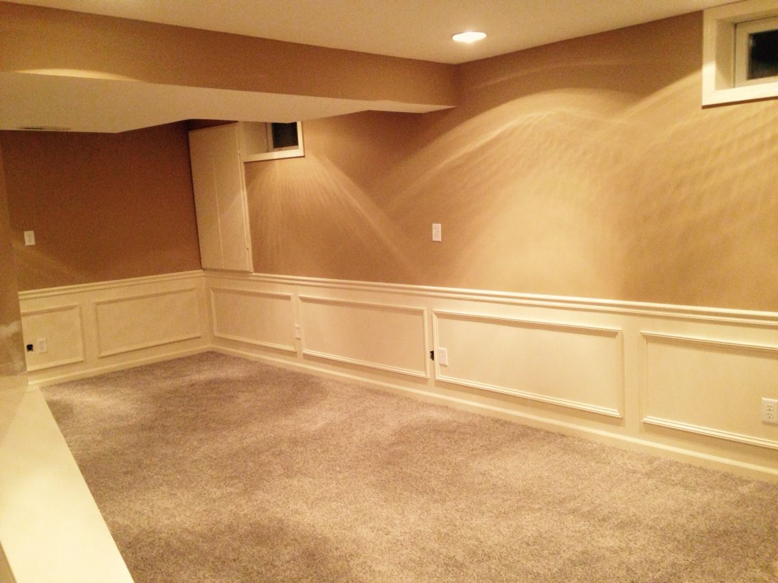 Basement finish - BM Springfield Tan, SW Steamed Milk paint, taupe ...