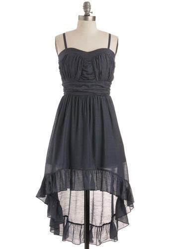 @ModCloth black spaghetti strap sheer high-low dress. http://zodiacfashion.blogspot.com