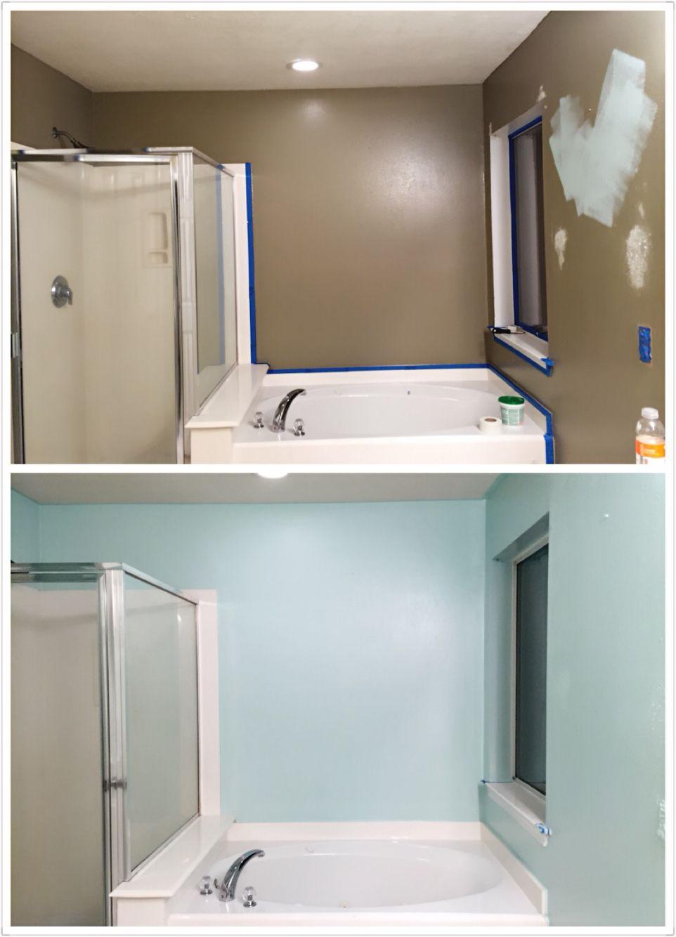 bathroom makeover diy paint behr mint time