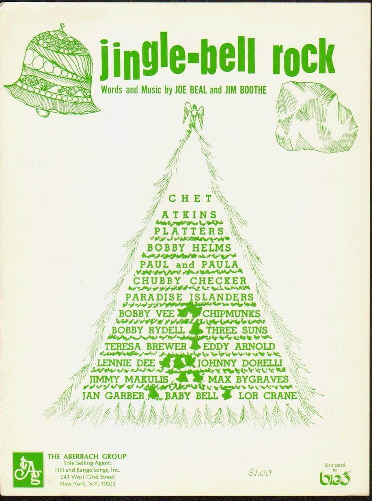 Jingle Bell ROCK 1957 Vintage CHRISTMAS Sheet Music! | Christmas sheet music, Vintage christmas ...