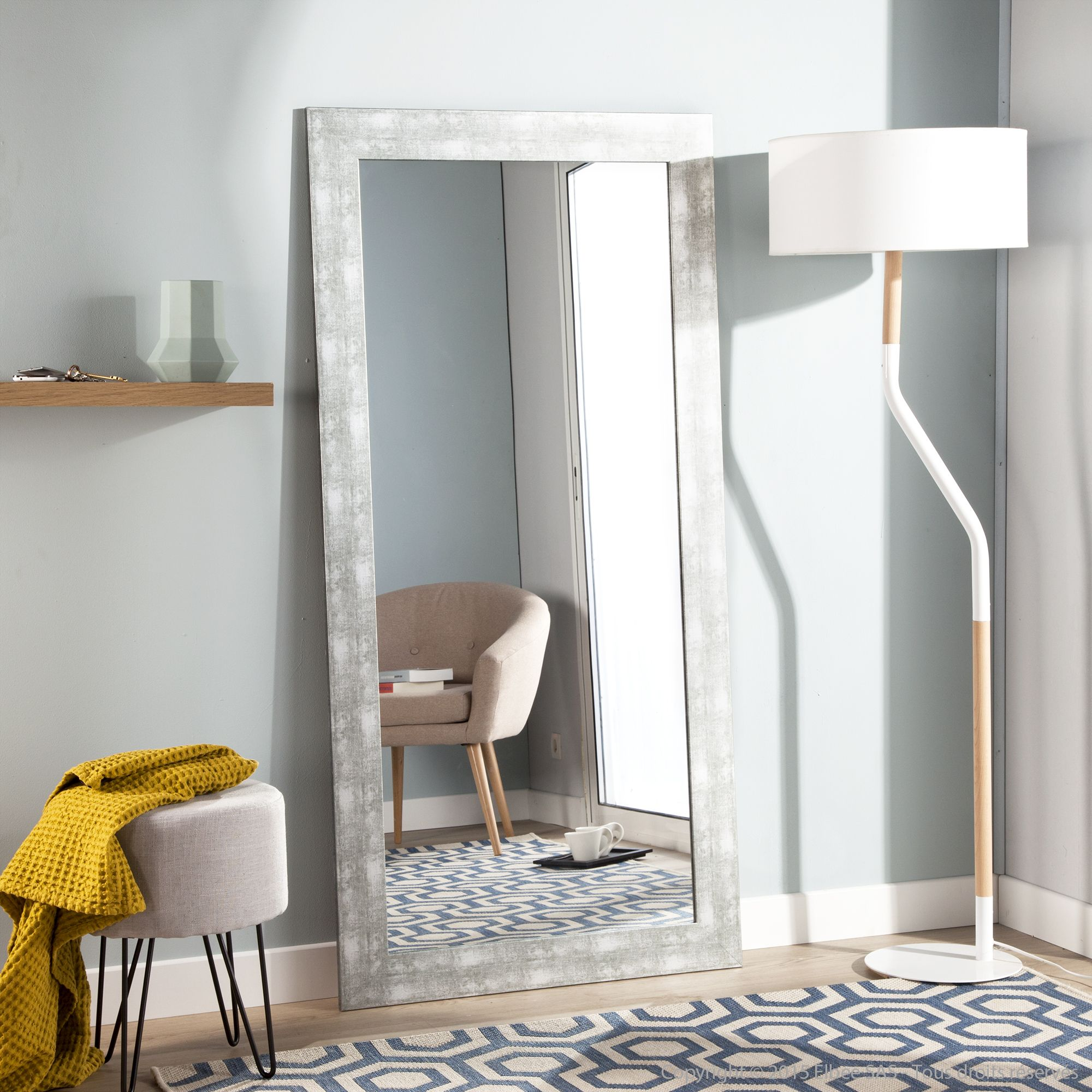 miroir rectangulaire en bois mdf finition mat chic axe. Black Bedroom Furniture Sets. Home Design Ideas