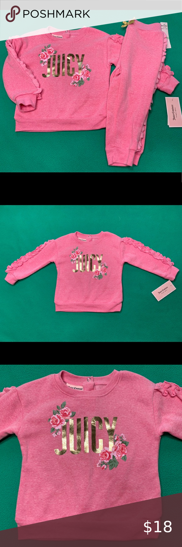 Sold Baby Girl Juicy Sweatsuit In 2020 Sweatsuit Juicy Couture Pink Size Girls