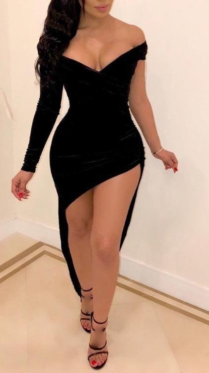 Plain Off Shoulder Asymmetrical Party Dress