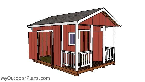 12x12 Shed With Porch Roof Plans Myoutdoorplans Free Woodworking Plans And Projects Diy Shed Wooden Playhouse In 2020 Shed With Porch Diy Shed Plans Shed Plans