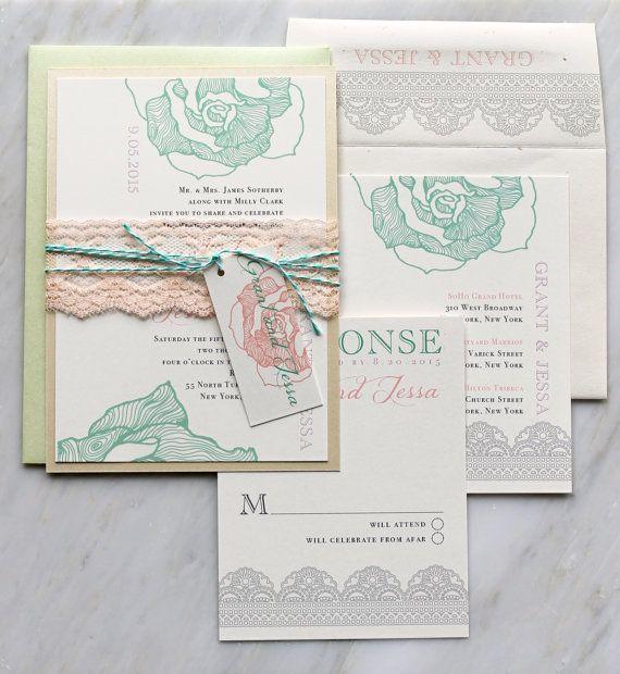 Ruffled Romance Mint Wedding Invitations Peach Lace Lilac Mint