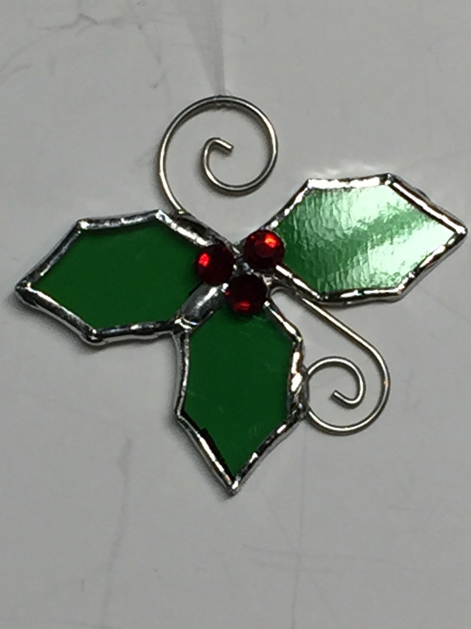 Christmas Stained Glass Ornaments Part - 23: Ornaments, Holly Ornaments, Christmas Ornaments, Stained Glass Mini Holly  Ornaments