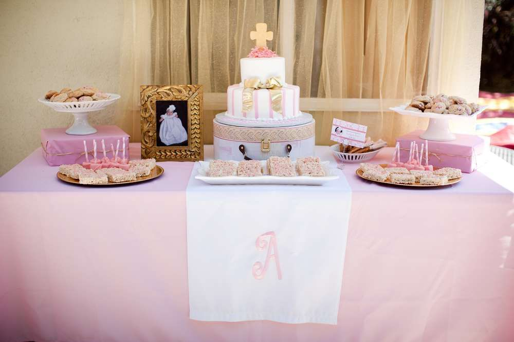 Pink And White Baptism Party Ideas Baptism Party Baptism Dessert Table Girl Baptism Party