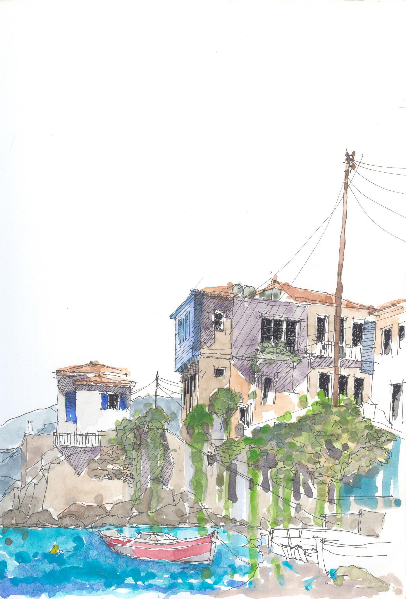 Am Blauen Hau Kokkari Samo Gr Urban Sketching Watercolor And Ink Theme Of The Good Morrow By John Donne