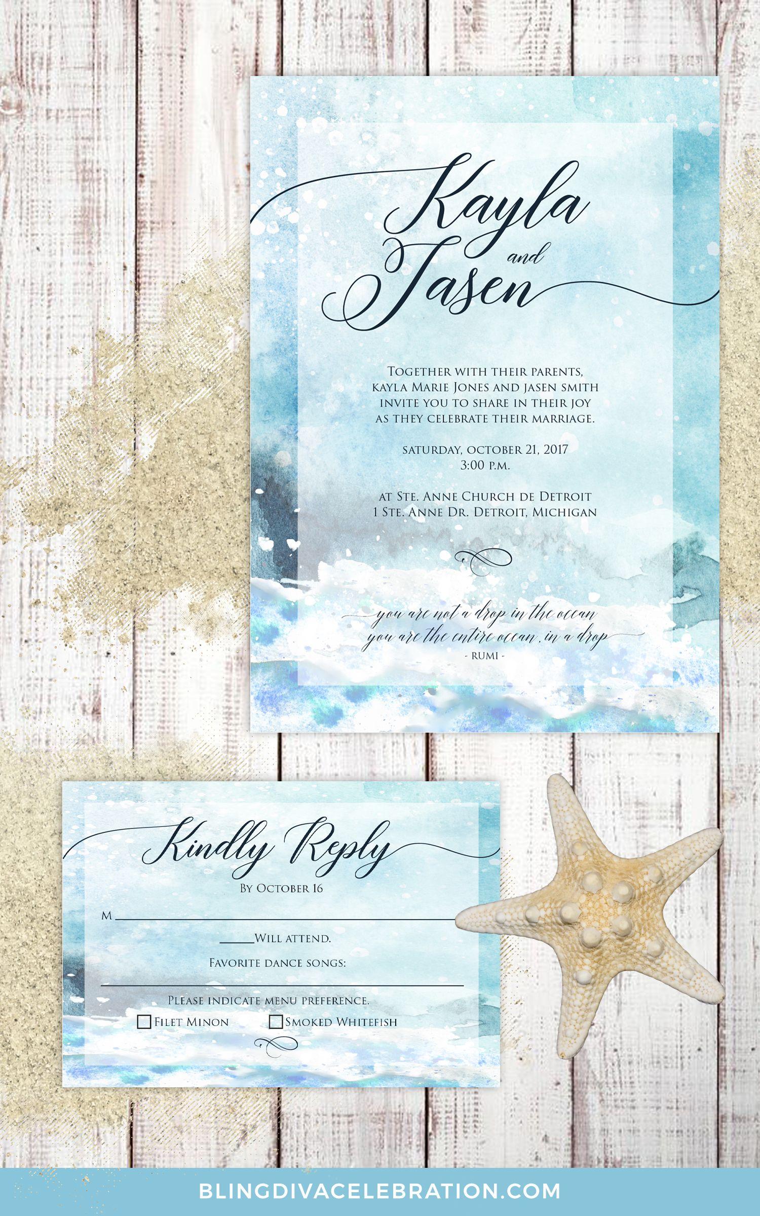 Ocean Wedding Invitation Beach Wedding Invite