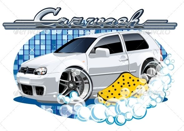 Car Washing Sign With Sponge Car Vector Train Illustration